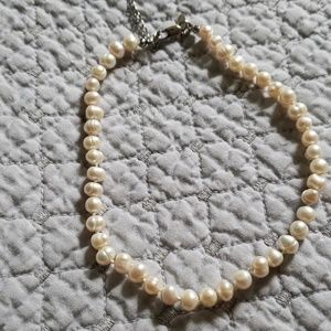 """16"""" hand knotted faux pearl necklace"""
